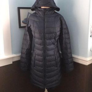 Navy blue long north face puffer